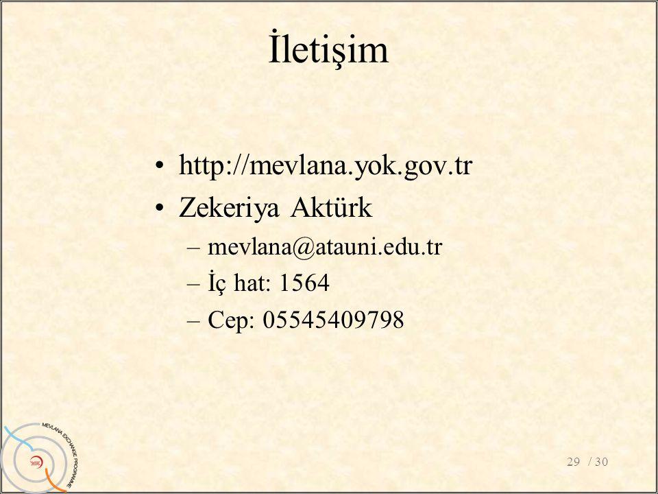 İletişim http://mevlana.yok.gov.tr Zekeriya Aktürk