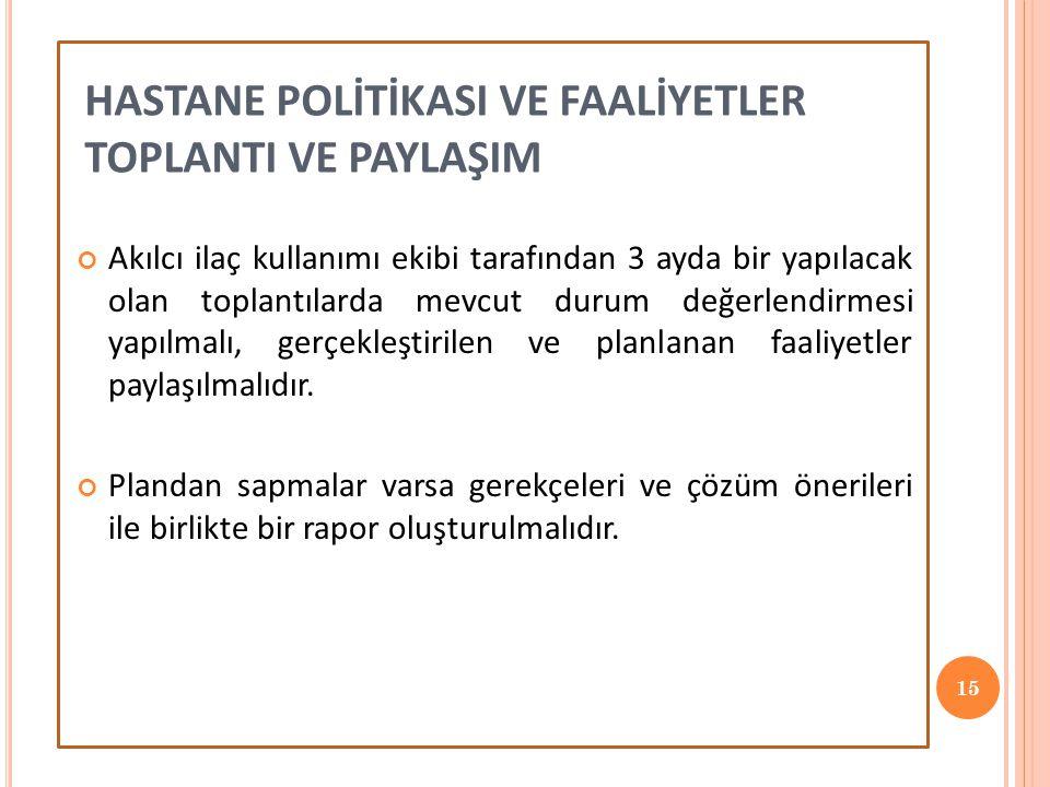 HASTANE POLİTİKASI VE FAALİYETLER TOPLANTI VE PAYLAŞIM