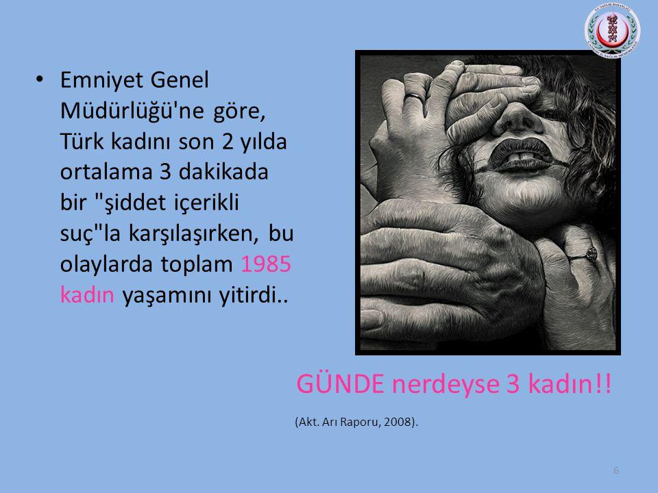 Emniyet Genel Müdürlüğü ne göre, Türk kadını son 2 yılda ortalama 3 dakikada bir şiddet içerikli suç la karşılaşırken, bu olaylarda toplam 1985 kadın yaşamını yitirdi..