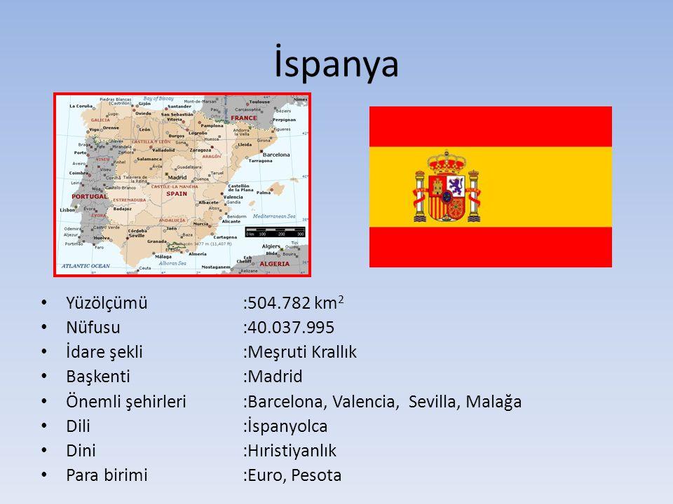 İspanya Yüzölçümü :504.782 km2 Nüfusu :40.037.995