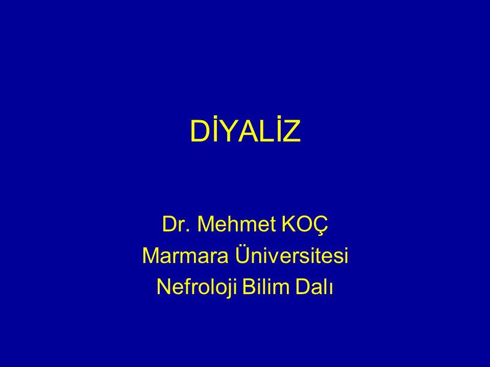 Dr. Mehmet KOÇ Marmara Üniversitesi Nefroloji Bilim Dalı