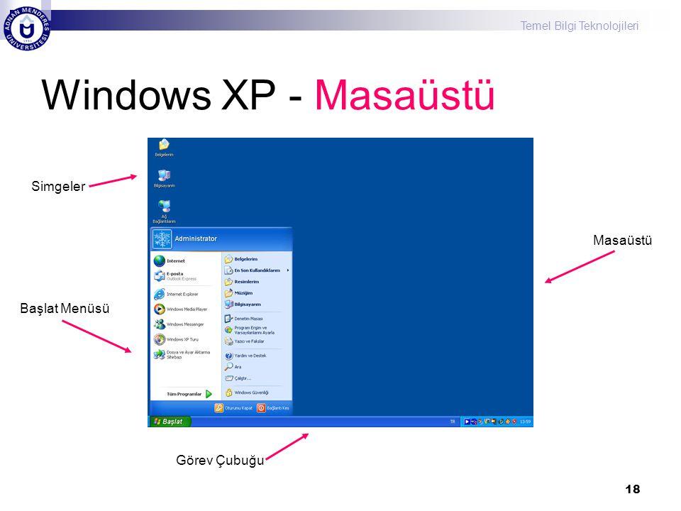 Windows XP - Masaüstü Simgeler Masaüstü Başlat Menüsü Görev Çubuğu