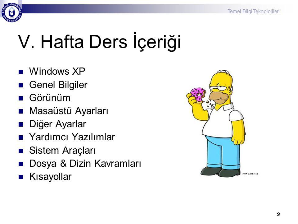V. Hafta Ders İçeriği Windows XP Genel Bilgiler Görünüm