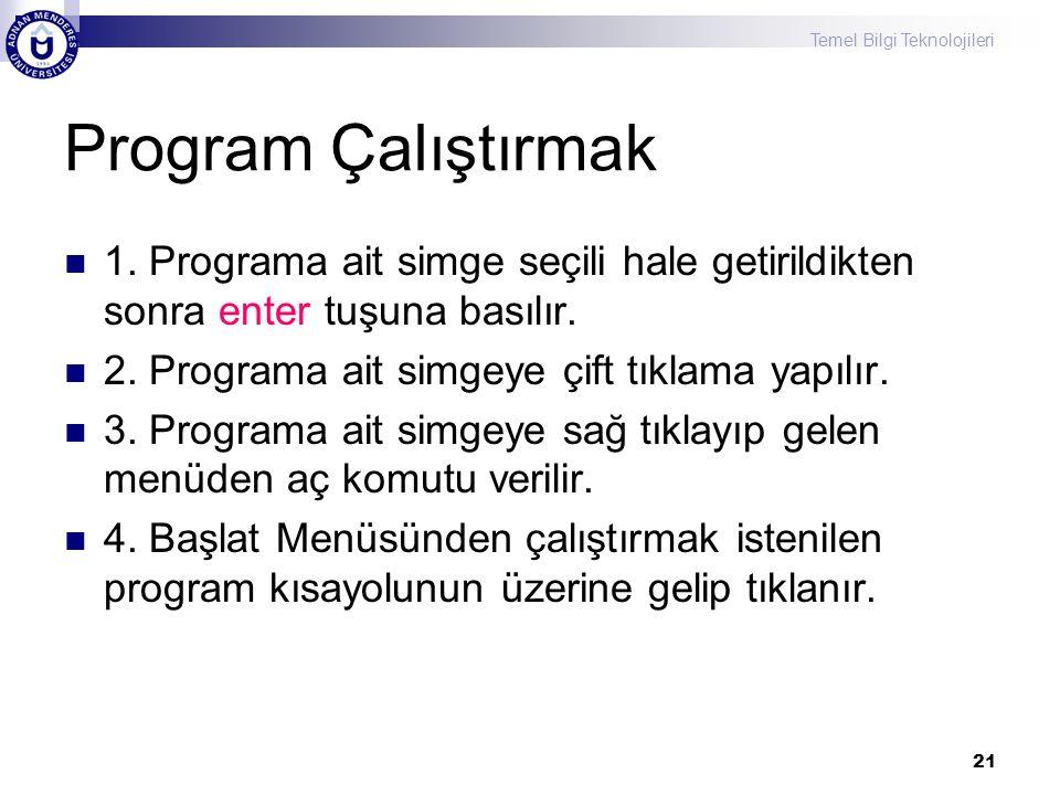Program Çalıştırmak 1. Programa ait simge seçili hale getirildikten sonra enter tuşuna basılır. 2. Programa ait simgeye çift tıklama yapılır.