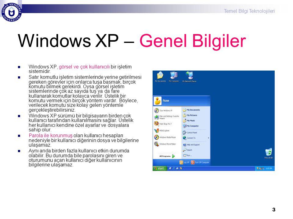 Windows XP – Genel Bilgiler