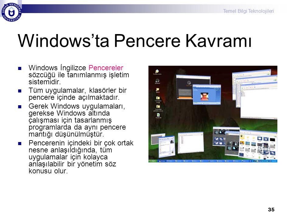 Windows'ta Pencere Kavramı