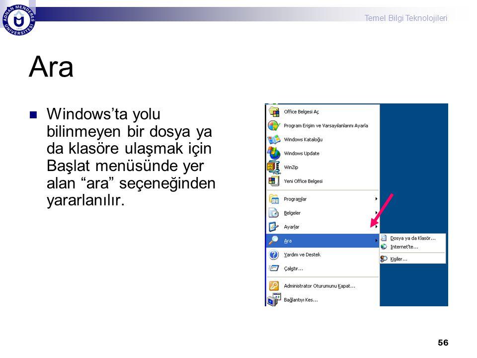Ara Windows'ta yolu bilinmeyen bir dosya ya da klasöre ulaşmak için Başlat menüsünde yer alan ara seçeneğinden yararlanılır.