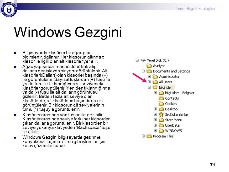 Windows Gezgini Bilgisayarda klasörler bir ağaç gibi biçimlenir, dallanır. Her klasörün altında o klasör ile ilgili olan alt klasörler yer alır.