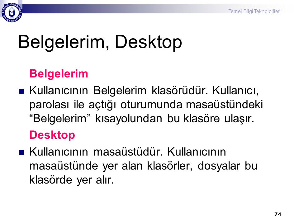 Belgelerim, Desktop Belgelerim