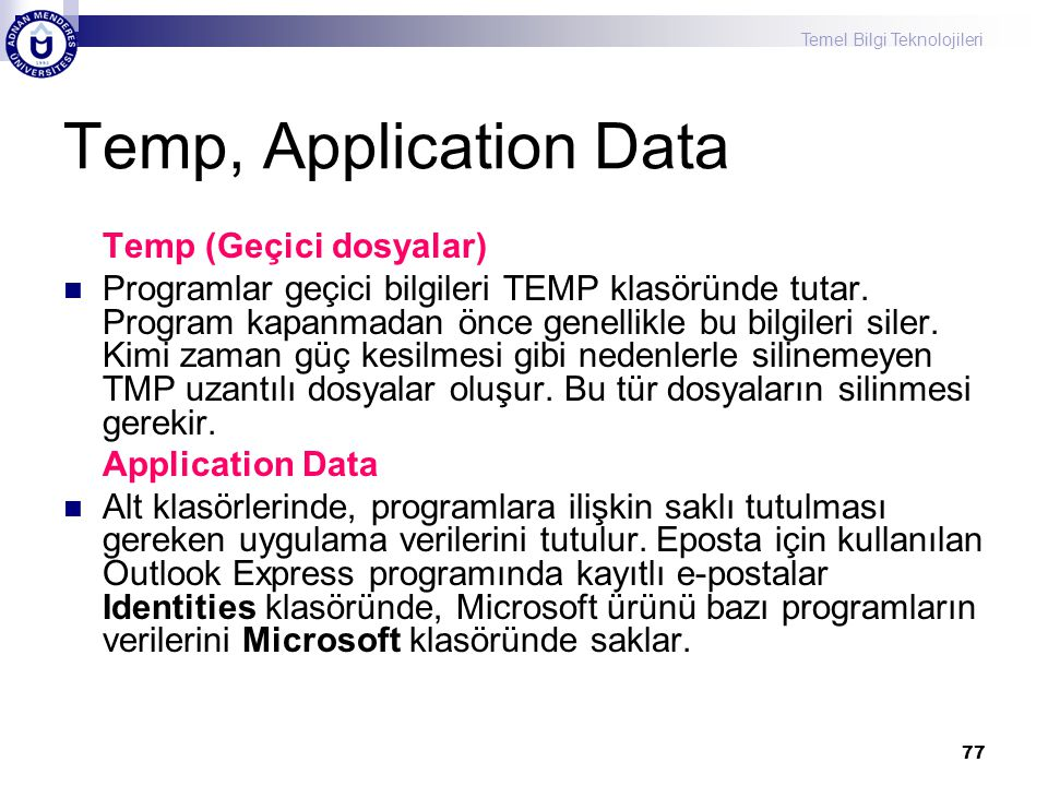 Temp, Application Data Temp (Geçici dosyalar)