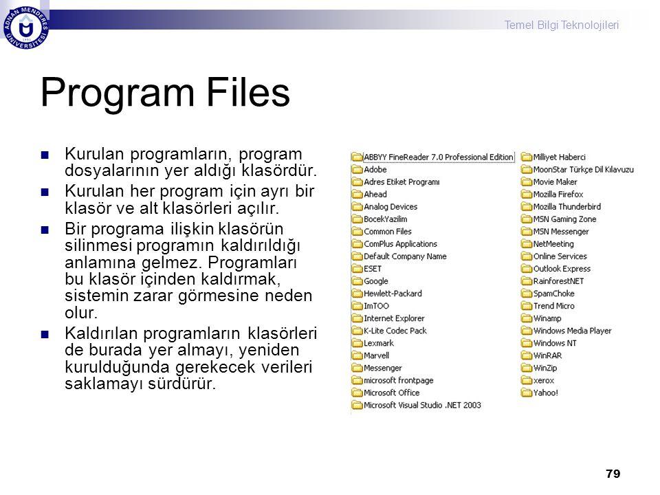 Program Files Kurulan programların, program dosyalarının yer aldığı klasördür. Kurulan her program için ayrı bir klasör ve alt klasörleri açılır.