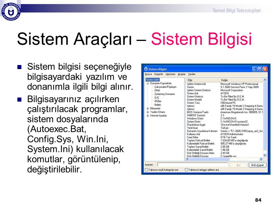 Sistem Araçları – Sistem Bilgisi