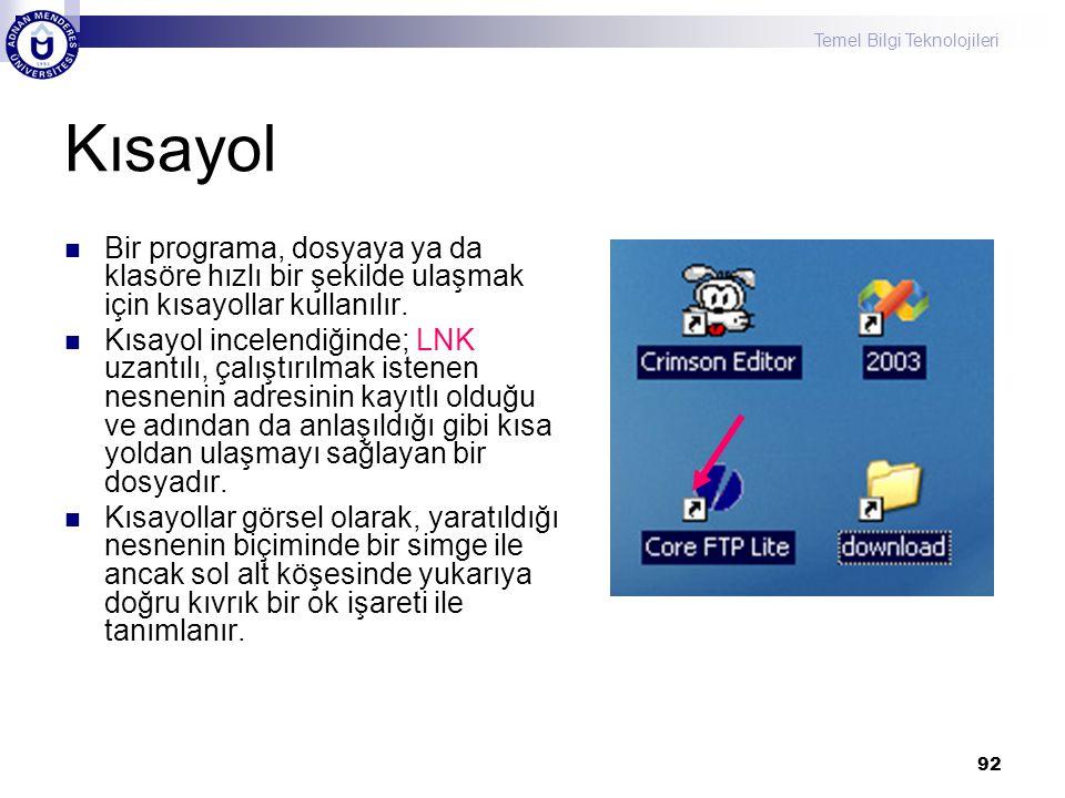 Kısayol Bir programa, dosyaya ya da klasöre hızlı bir şekilde ulaşmak için kısayollar kullanılır.