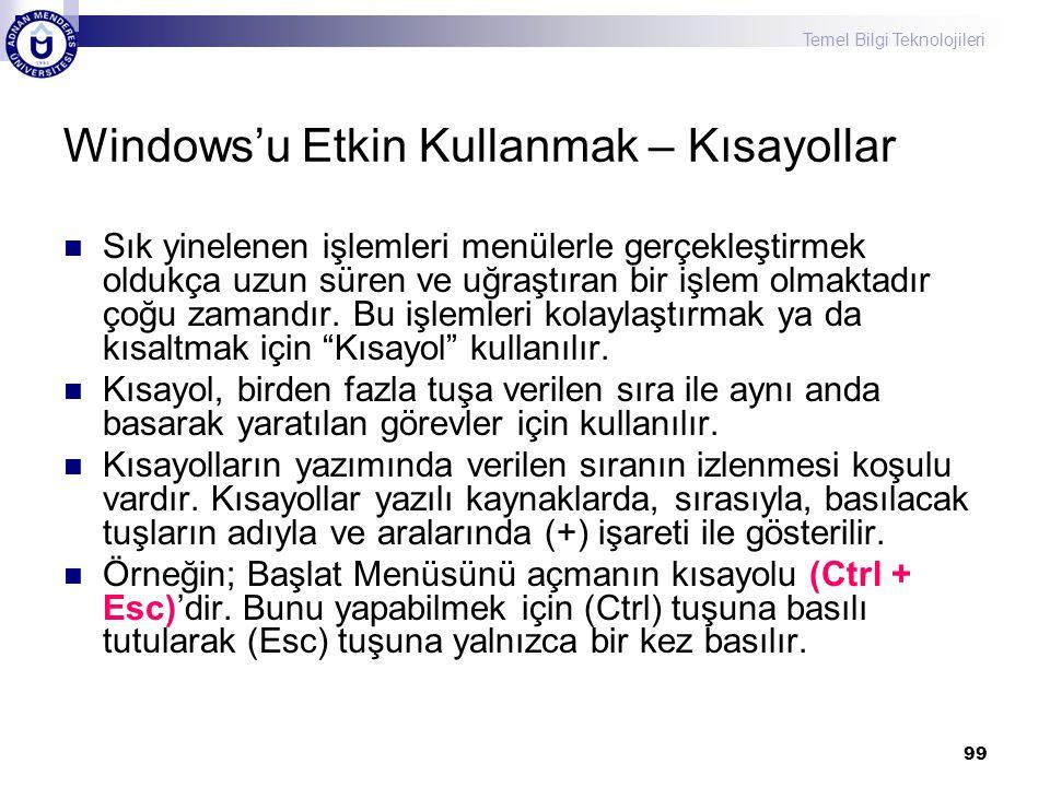 Windows'u Etkin Kullanmak – Kısayollar