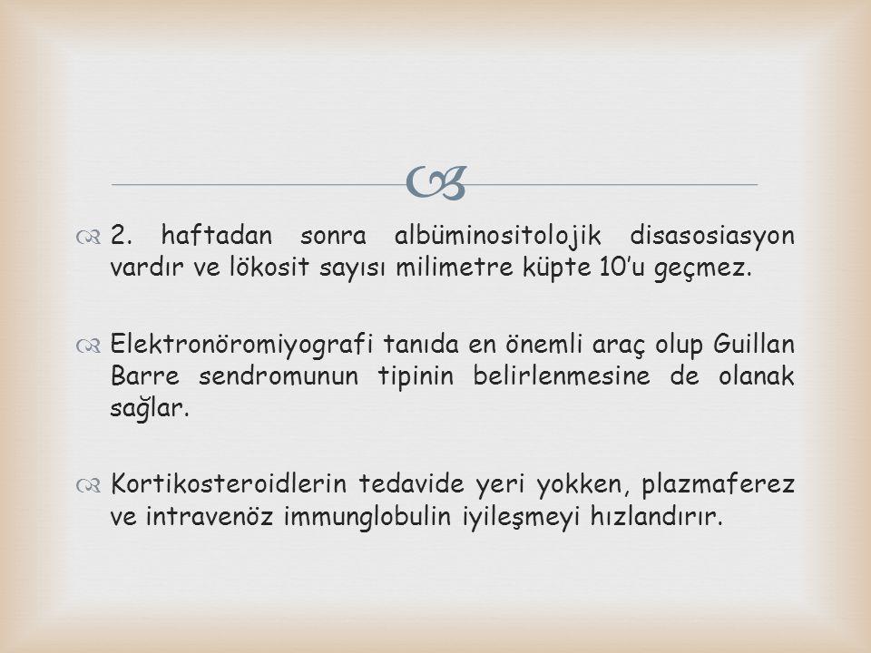 2. haftadan sonra albüminositolojik disasosiasyon vardır ve lökosit sayısı milimetre küpte 10'u geçmez.