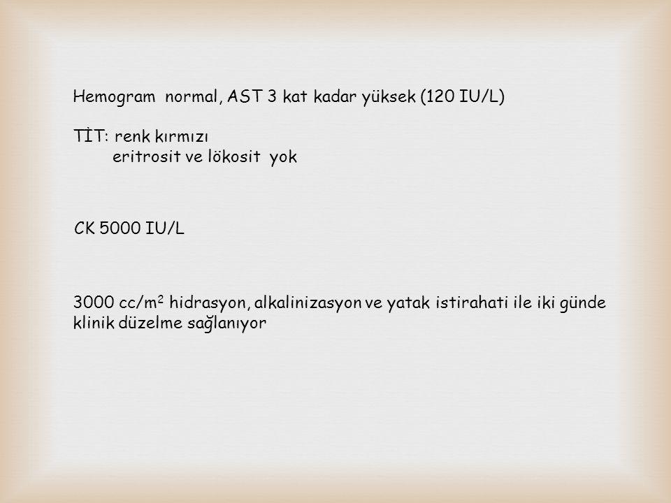 Hemogram normal, AST 3 kat kadar yüksek (120 IU/L)