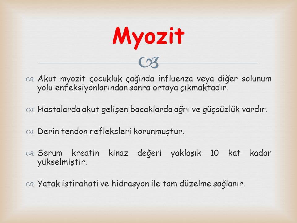 Myozit Akut myozit çocukluk çağında influenza veya diğer solunum yolu enfeksiyonlarından sonra ortaya çıkmaktadır.