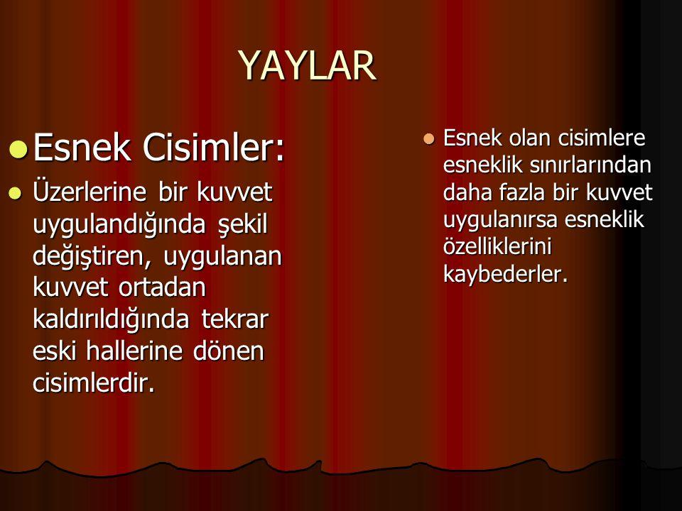 YAYLAR Esnek Cisimler:
