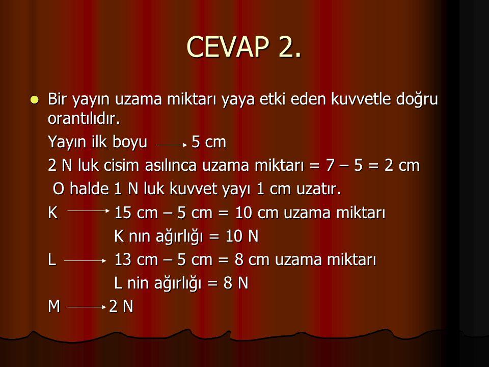 CEVAP 2. Bir yayın uzama miktarı yaya etki eden kuvvetle doğru orantılıdır. Yayın ilk boyu 5 cm.