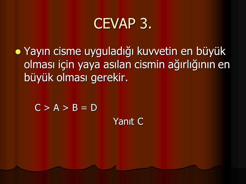 CEVAP 3. Yayın cisme uyguladığı kuvvetin en büyük olması için yaya asılan cismin ağırlığının en büyük olması gerekir.