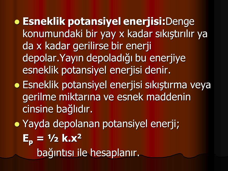 Esneklik potansiyel enerjisi:Denge konumundaki bir yay x kadar sıkıştırılır ya da x kadar gerilirse bir enerji depolar.Yayın depoladığı bu enerjiye esneklik potansiyel enerjisi denir.