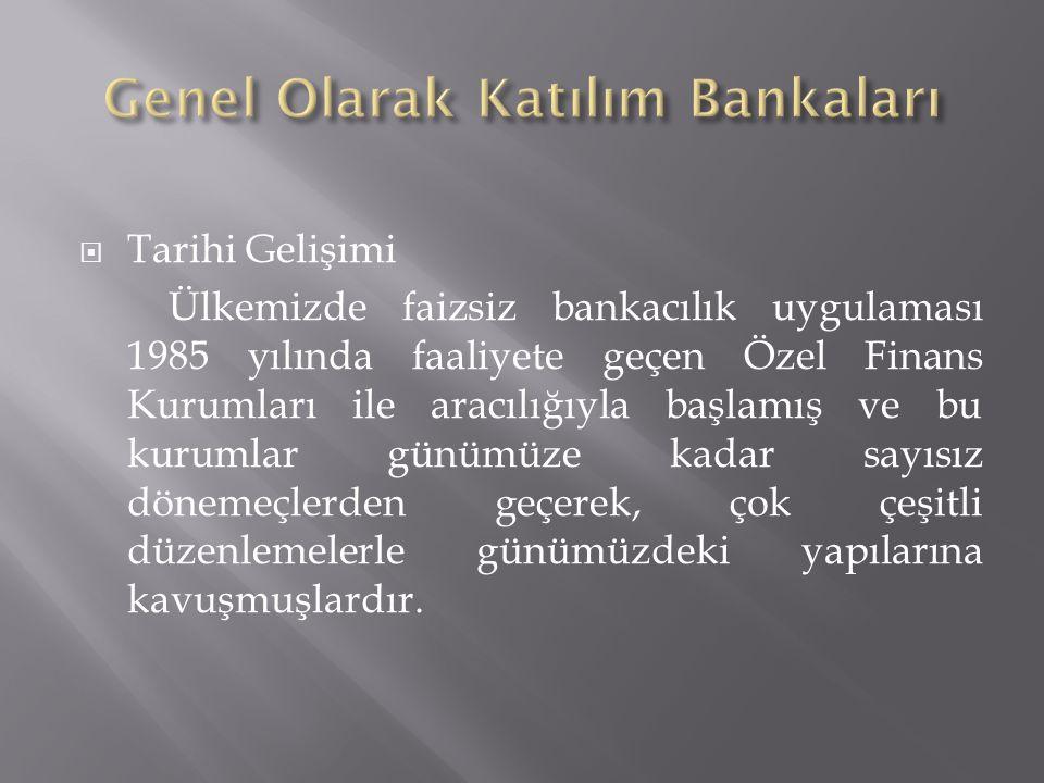 Genel Olarak Katılım Bankaları