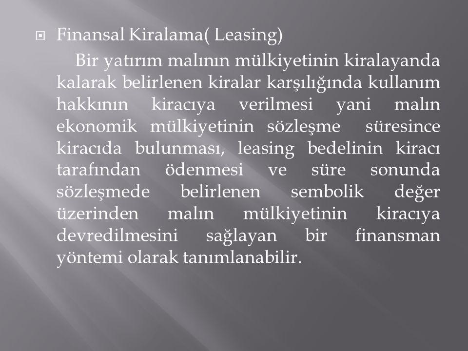 Finansal Kiralama( Leasing)