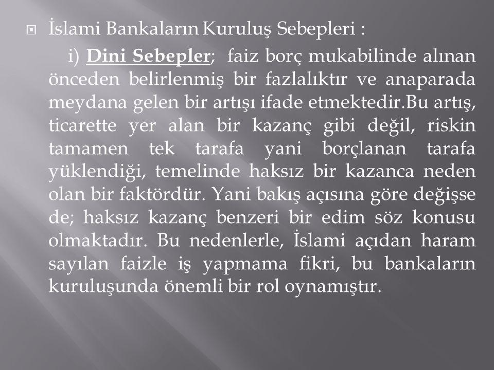 İslami Bankaların Kuruluş Sebepleri :