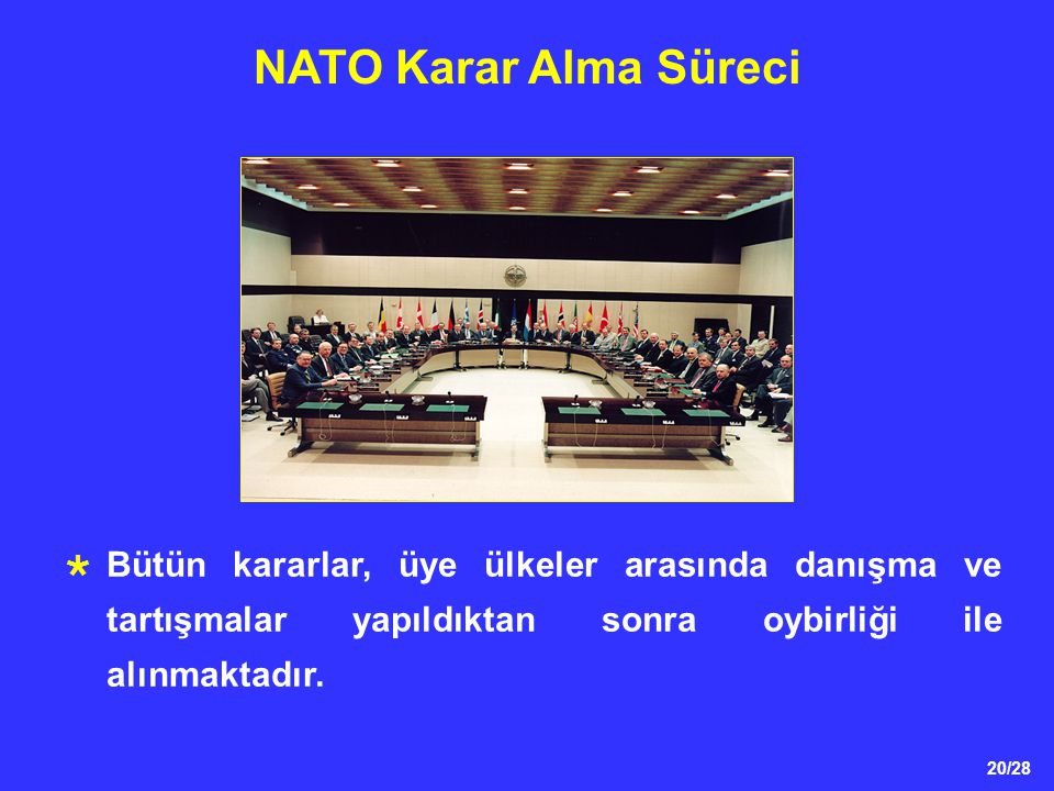 NATO Karar Alma Süreci * NATO'daki bütün kararlar, üye ülkeler arasında danışma ve tartışmalar yapıldıktan sonra oybirliği ile alınmaktadır.