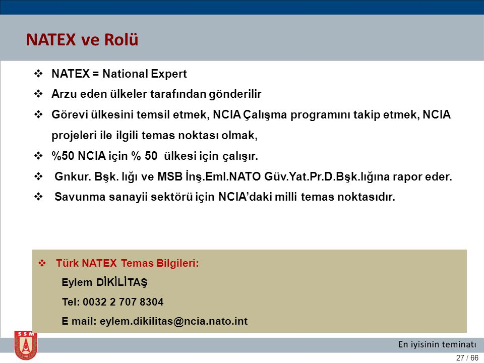 NATEX ve Rolü NATEX = National Expert