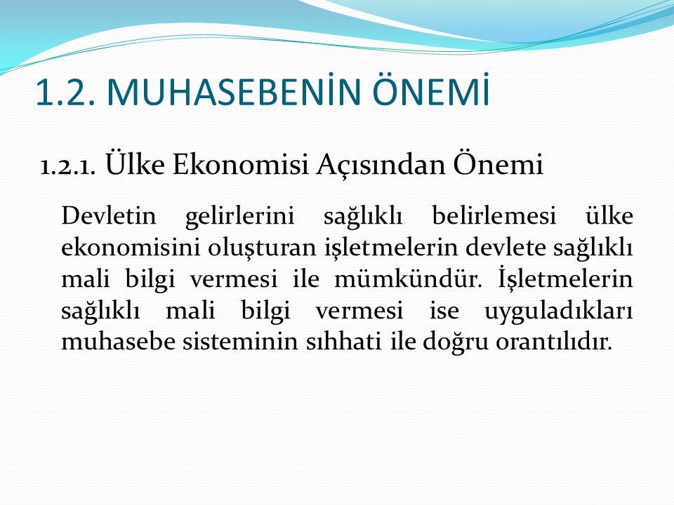 1.2. MUHASEBENİN ÖNEMİ 1.2.1. Ülke Ekonomisi Açısından Önemi