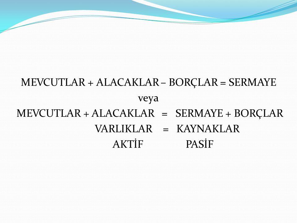 MEVCUTLAR + ALACAKLAR – BORÇLAR = SERMAYE veya MEVCUTLAR + ALACAKLAR = SERMAYE + BORÇLAR VARLIKLAR = KAYNAKLAR AKTİF PASİF