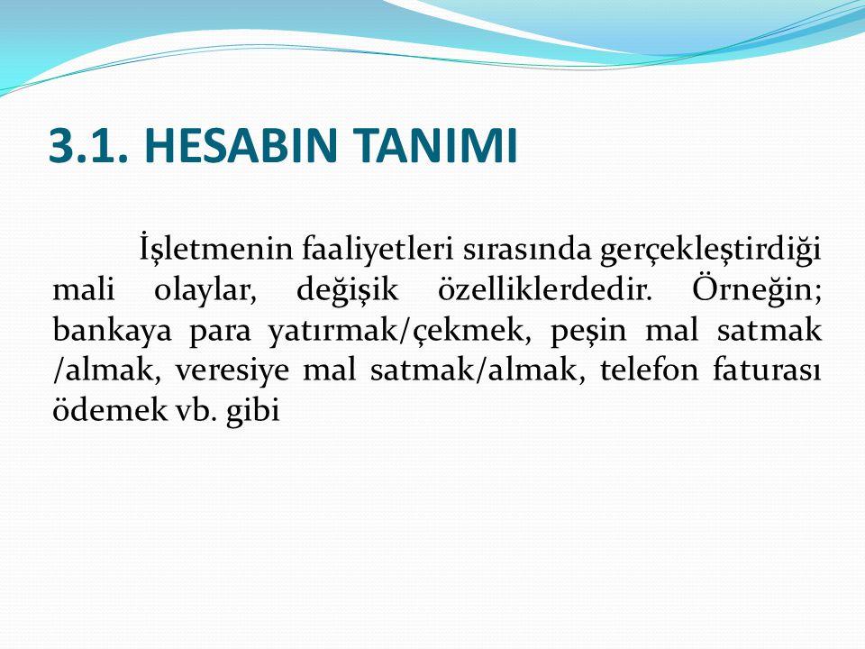3.1. HESABIN TANIMI