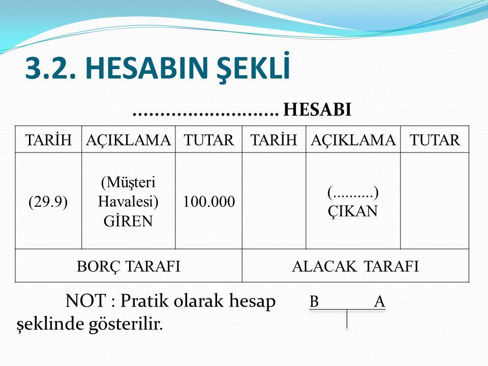 3.2. HESABIN ŞEKLİ ........................... HESABI NOT : Pratik olarak hesap B A şeklinde gösterilir.
