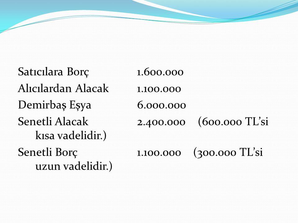 Satıcılara Borç 1. 600. 000 Alıcılardan Alacak 1. 100