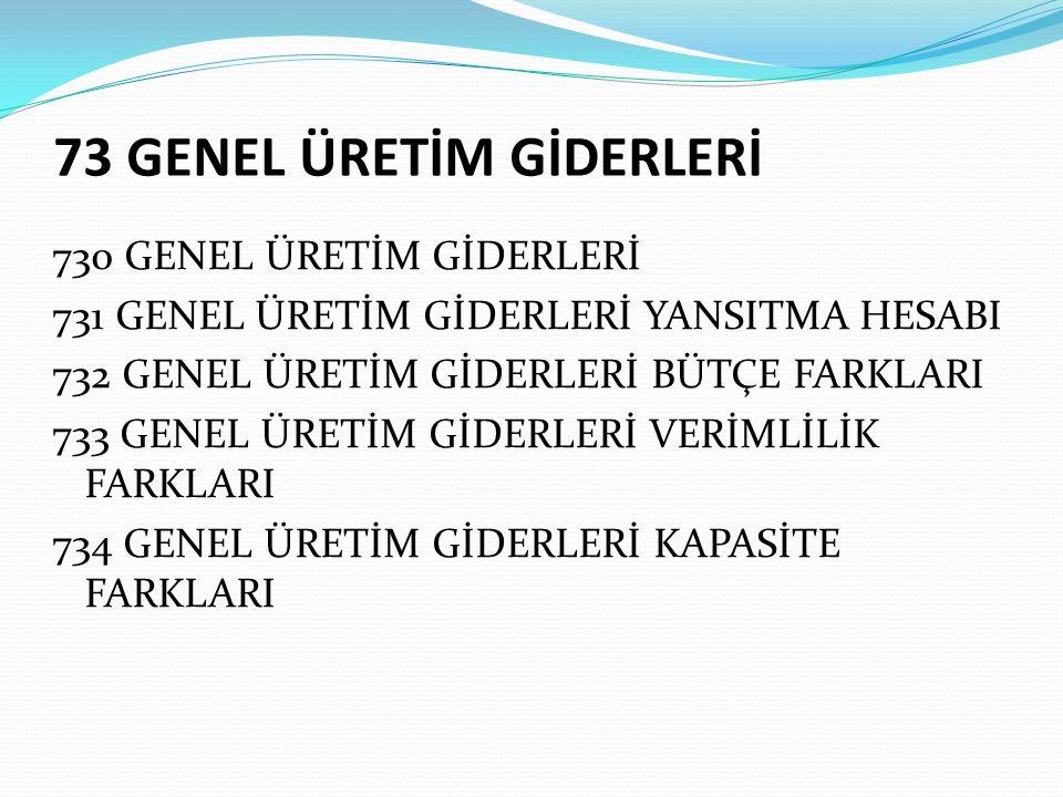 73 GENEL ÜRETİM GİDERLERİ
