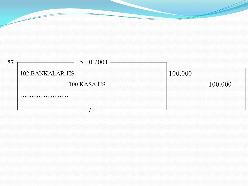 57 15.10.2001 102 BANKALAR HS. 100.000 100 KASA HS. ………………… /