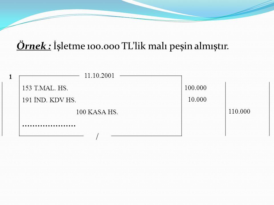 Örnek : İşletme 100.000 TL'lik malı peşin almıştır.