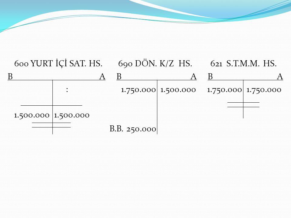 B.B. 250.000 600 YURT İÇİ SAT. HS. 690 DÖN. K/Z HS. 621 S.T.M.M. HS.