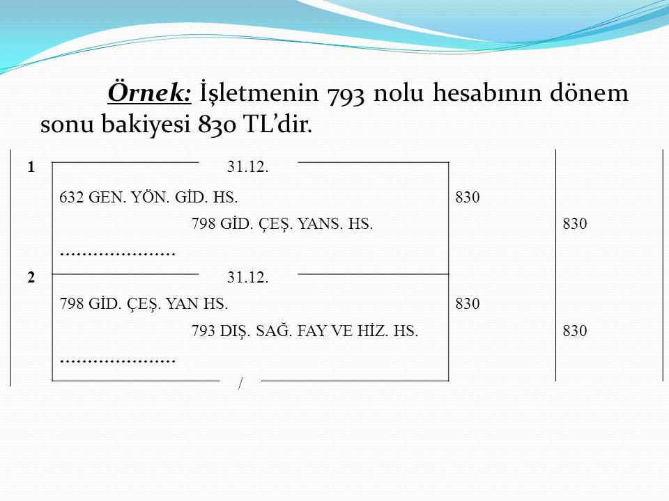 Örnek: İşletmenin 793 nolu hesabının dönem sonu bakiyesi 830 TL'dir.