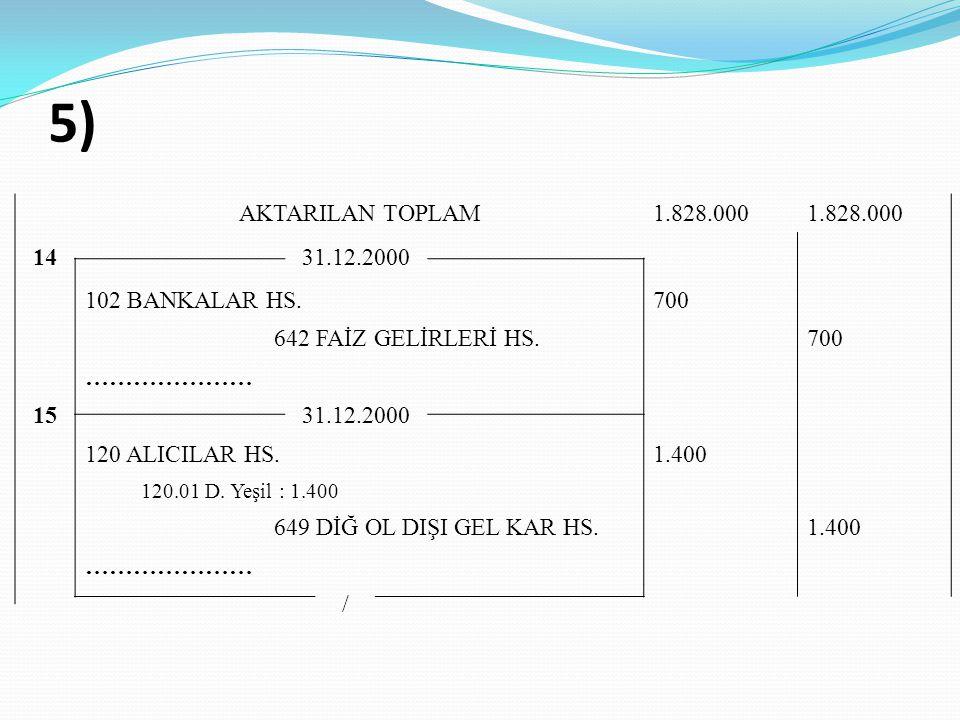 5) AKTARILAN TOPLAM 1.828.000 14 31.12.2000 102 BANKALAR HS. 700