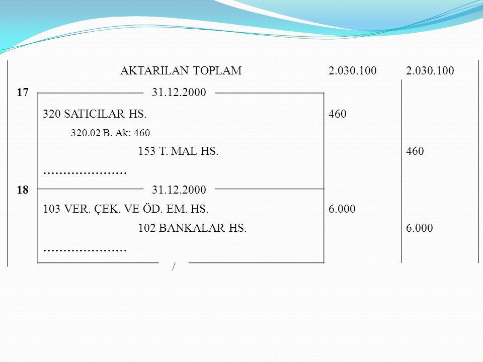 AKTARILAN TOPLAM 2.030.100 17 31.12.2000 320 SATICILAR HS. 460