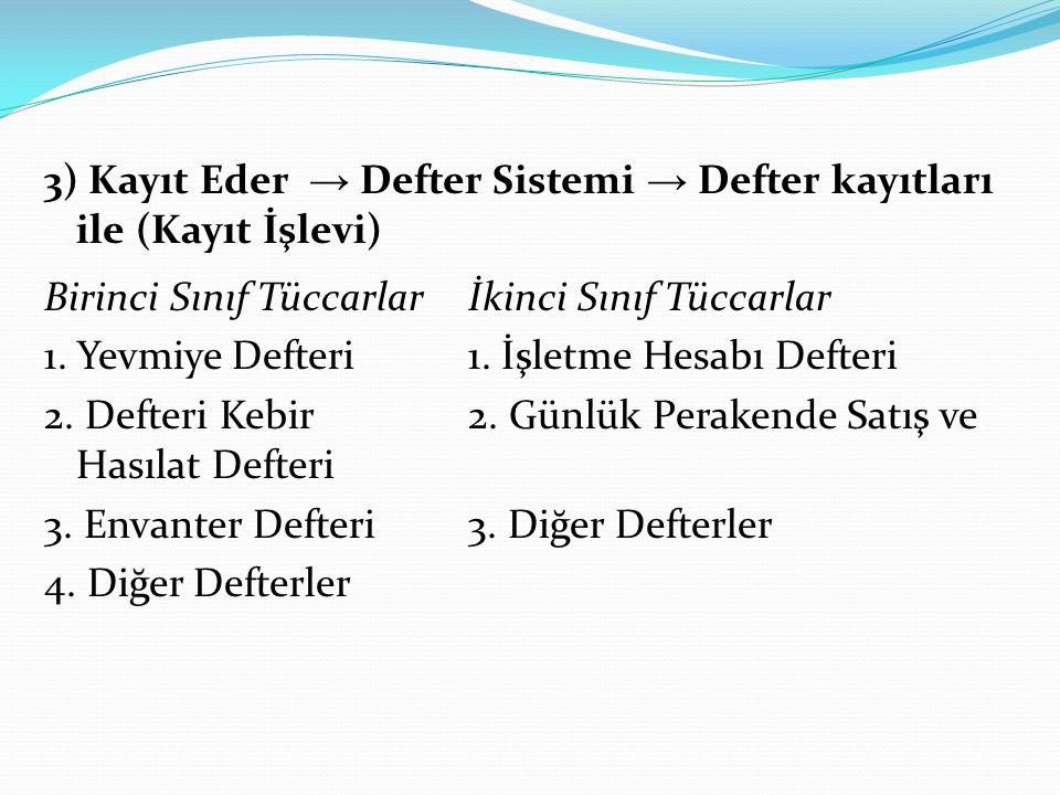 3) Kayıt Eder → Defter Sistemi → Defter kayıtları ile (Kayıt İşlevi) Birinci Sınıf Tüccarlar İkinci Sınıf Tüccarlar 1.