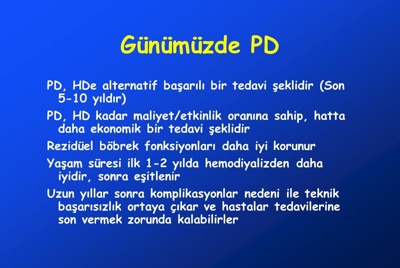 Günümüzde PD PD, HDe alternatif başarılı bir tedavi şeklidir (Son 5-10 yıldır)