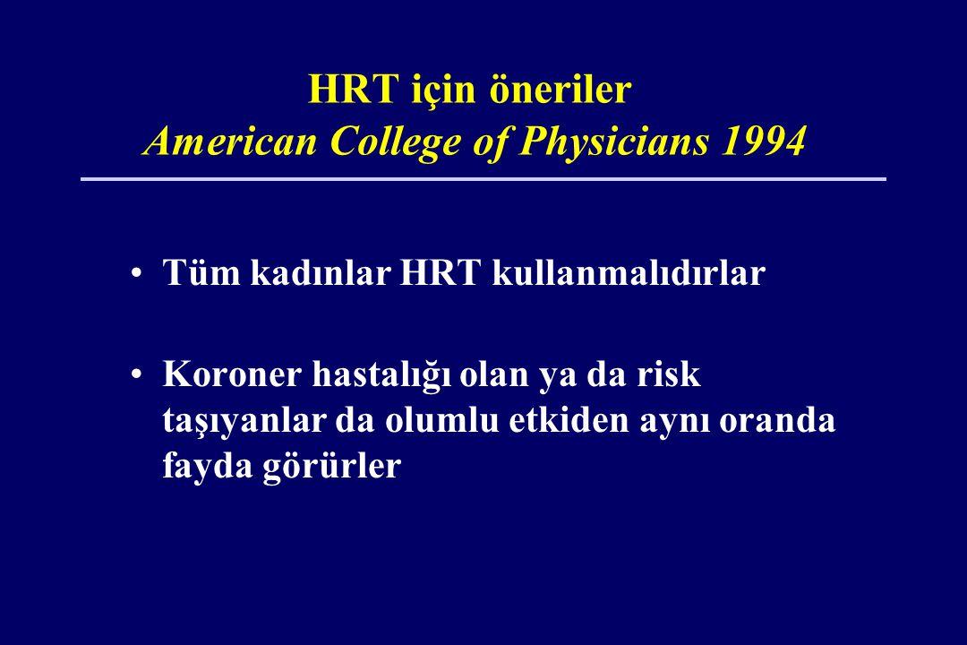 HRT için öneriler American College of Physicians 1994