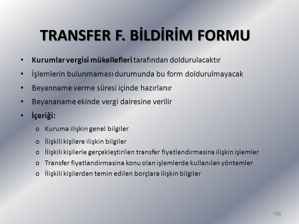 TRANSFER F. BİLDİRİM FORMU