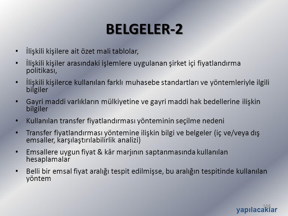 BELGELER-2 İlişkili kişilere ait özet mali tablolar,