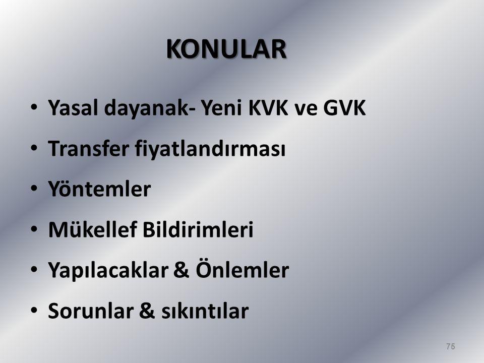 KONULAR Yasal dayanak- Yeni KVK ve GVK Transfer fiyatlandırması