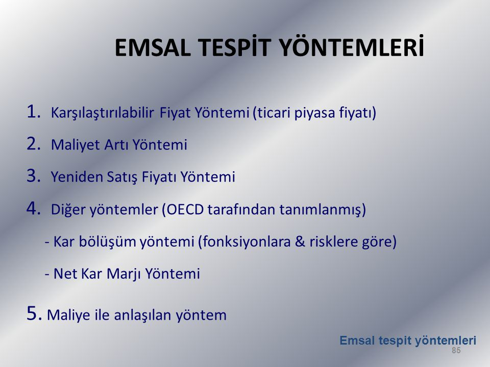 EMSAL TESPİT YÖNTEMLERİ