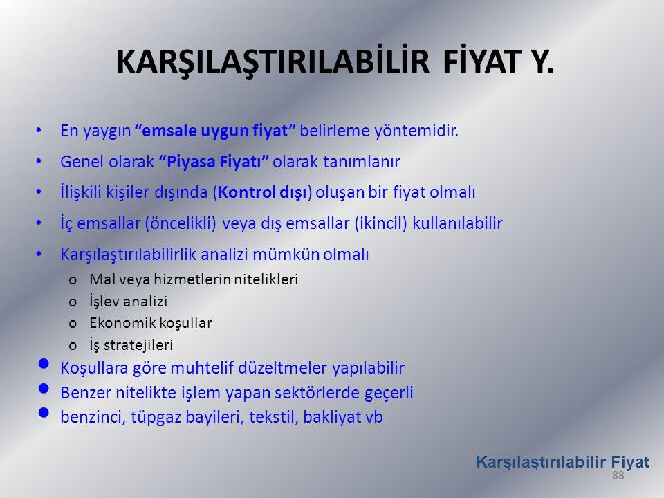 KARŞILAŞTIRILABİLİR FİYAT Y.